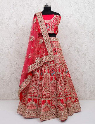 Designer red silk semi stitched bridal wear lehenga choli