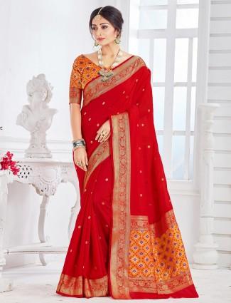 Designer red soft cotton saree for wedding