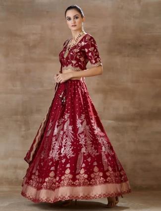 Designer red wedding lehenga choli in georgette