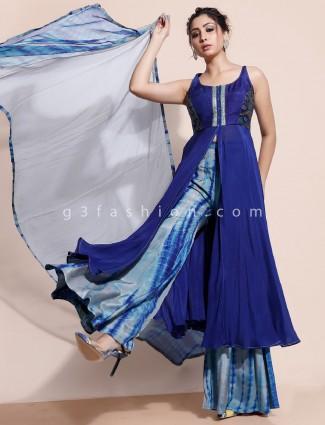 Designer royal blue indo western for party