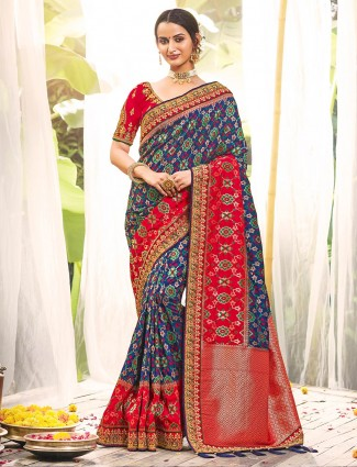 Designer royal blue saree for wedding in silk