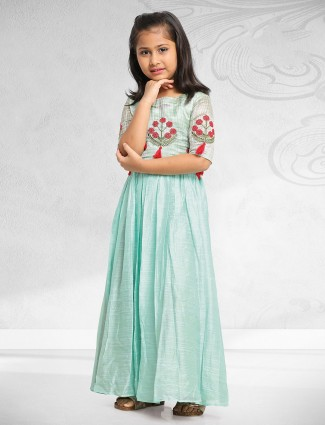 Designer sea green raw silk gown