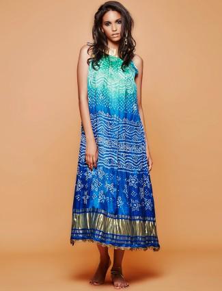 Designer silk bandhej blue kurti