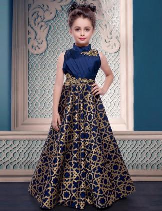 Designer silk navy wedding wear gown
