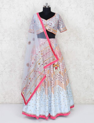 Designer sky blue lehenga for wedding wear