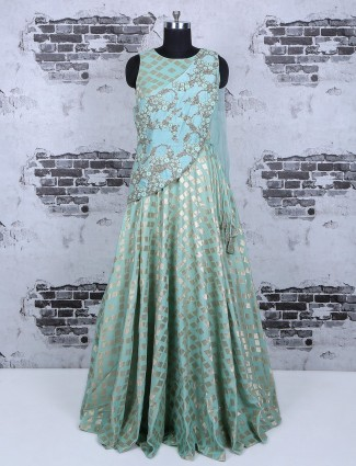 Designer sky blue silk gown