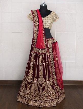 Designer velvet unstitched lehenga choli for brides
