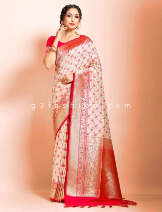 Designer wedding function cream saree in art banarasi silk