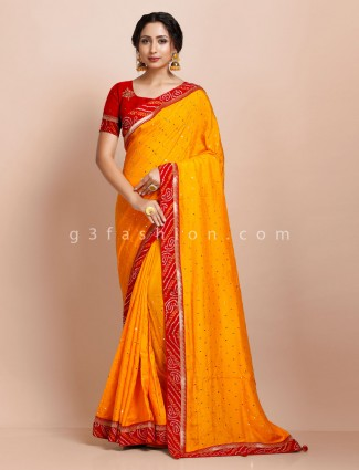 Designer wedding function yellow saree in muga silk