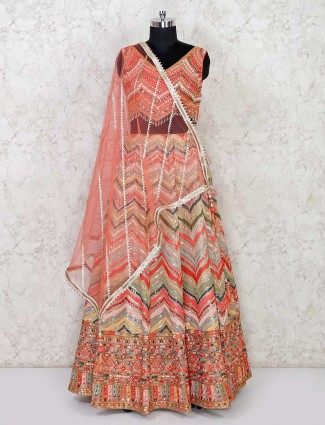 Designer wedding wear peach georgette lehenga choli