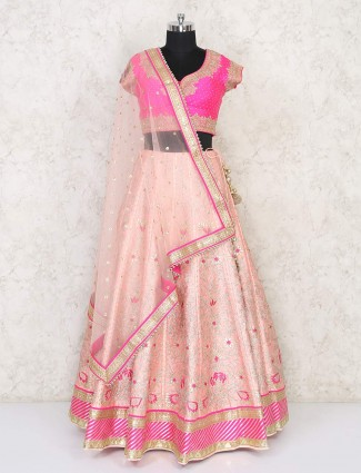 Designer wedding wear peach raw silk lehenga choli