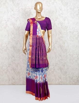 Designer wedding wear white and purple pure silk saree