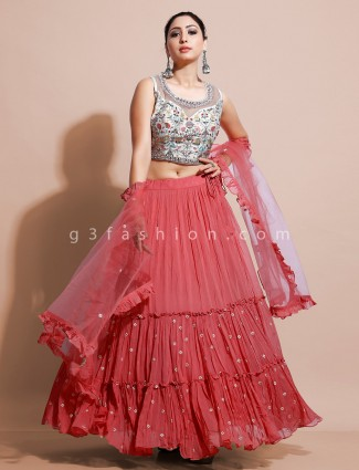 Designer white and pink ghaghra choli in georgette with embrodiery
