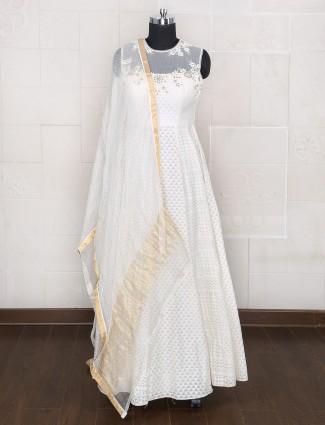 Designer white color silk anarkali suit
