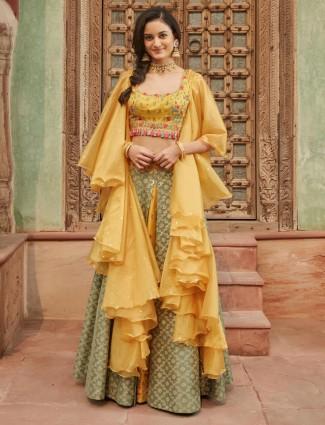 Designer yellow and green lehenga choli in silk