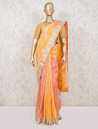 Designer yellow and pink colour pure silk saree for festive