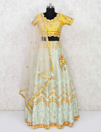 Designer yellow and pista green lehenga for party
