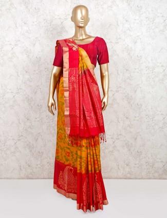 Designer yellow and red pure silk wedding wear saree
