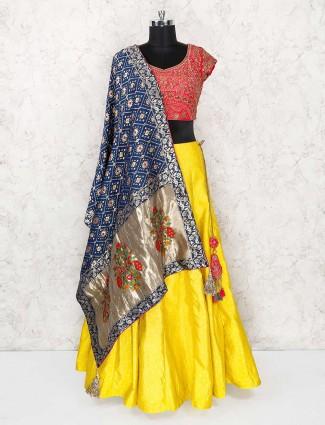 Designer yellow color wedding lehnega choli