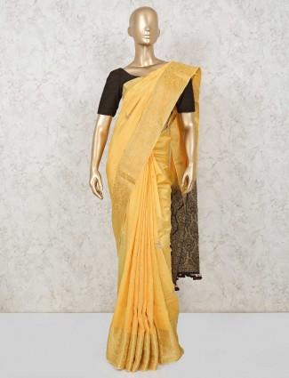 Designer yellow cotton silk saree for wedding with gota work