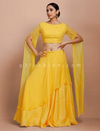 Designer yellow lehenga and blouse set in tissue silk