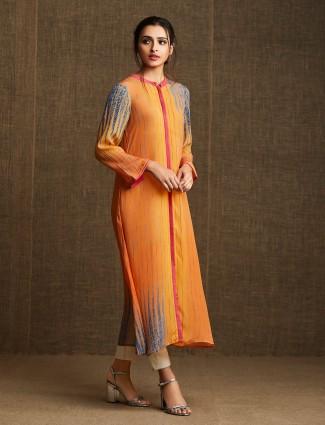 Designer Yellow printed kurti in cotton