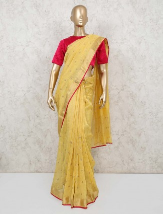 Designer yellow saree with readymade blouse in handloom cotton