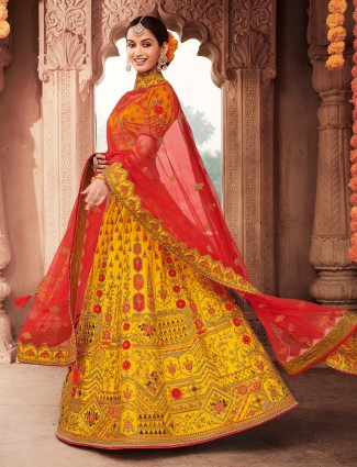 Designer yellow semi stitched bridal lehenga choli for wedding