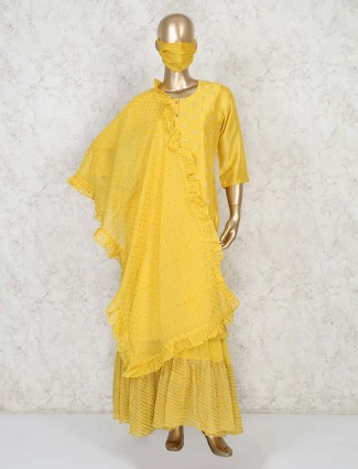 Designer yellow sharara suit with mask