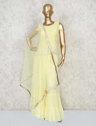Designer yellow short top and sharara in georgette for wedding