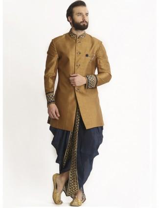 Dhoti style indo western in khaki silk fabric
