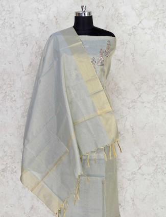 Dhupchav grey dress material in cotton