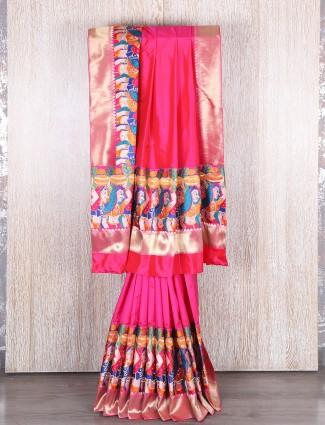 Dhupchav silk magenta saree
