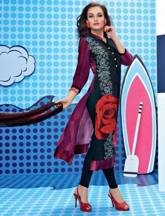 Dil dhadakne do black simmer georgette Unstitched dress material