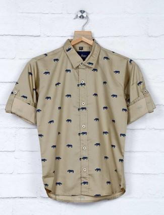 DNJS beige animal printed cotton shirt