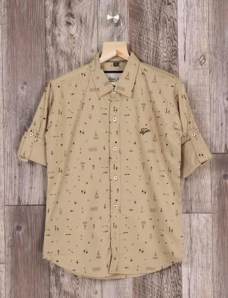 DNJS khaki printed shirt