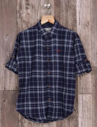 DNJS navy checks shirt