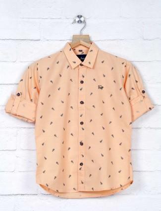 DNJS printed peach cotton boys shirt