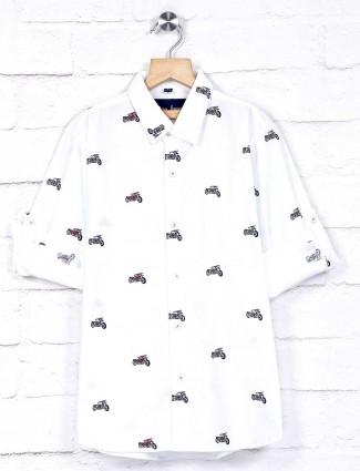 DNJS slim collar white printed design shirt