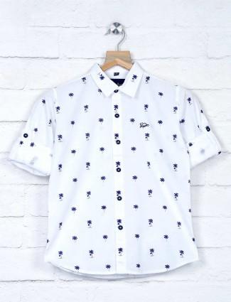 DNJS slim collar white printed shirt