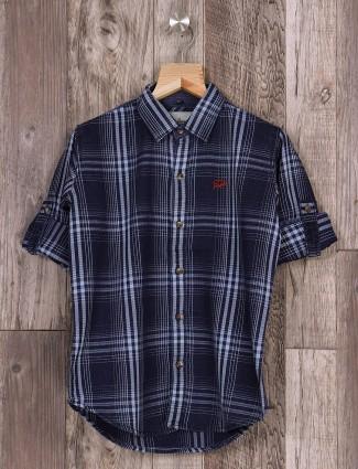 DNJS slim fit casual navy shirt