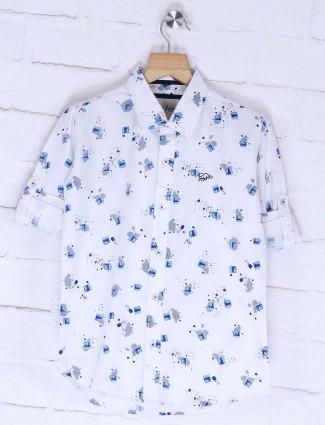 DNJS white colored printed shirt