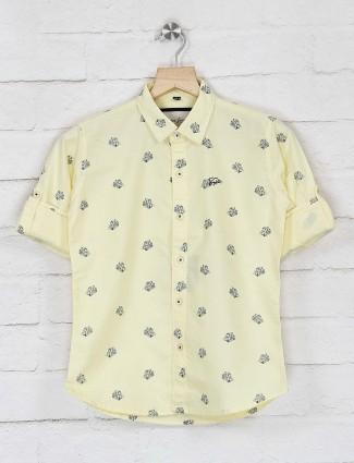 DNJS yellow printed full sleeves shirt