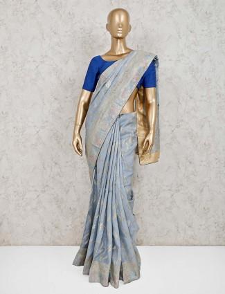 Dola silk festive grey saree