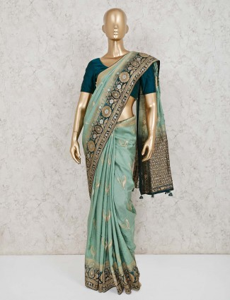 Dola silk green wedding saree
