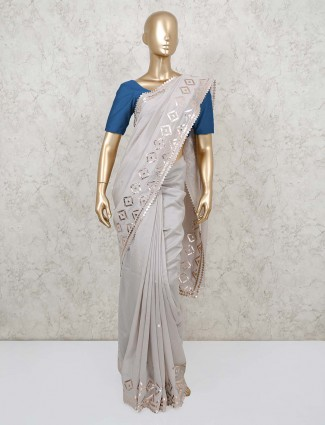 Dola silk grey saree for festival