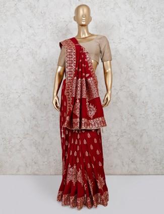 Dola silk maroon saree for wedding function