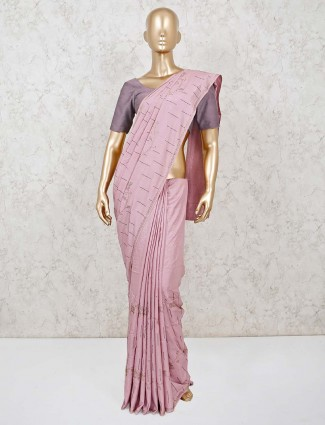 Dola silk pink reception saree