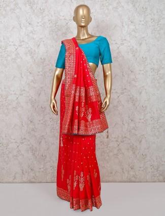 Dola silk pink wedding occsaion saree