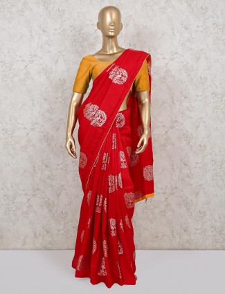 Dola silk red saree for wedding and party